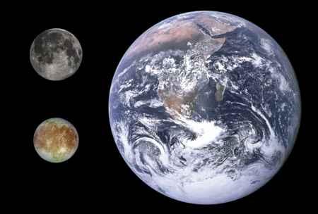 tamaños de la Luna, Europa y la Tierra