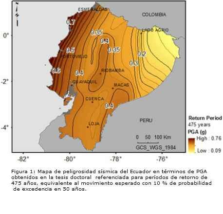 mapa de riesgo sismico en Ecuador