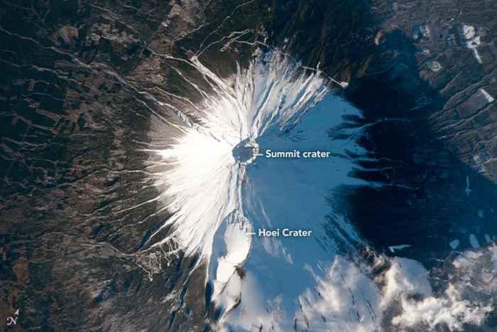 el monte Fuji desde el transbordador Columbia