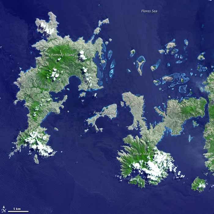 Parque Nacional de Komodo, Indonesia, desde satélite