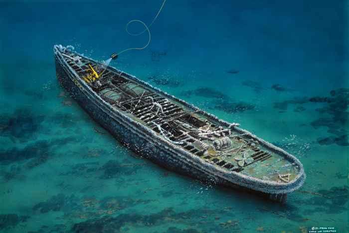 recreación artística del pecio del USS Conestoga