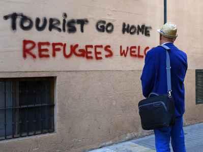 pintada anti turistas en Palma de Mallorca