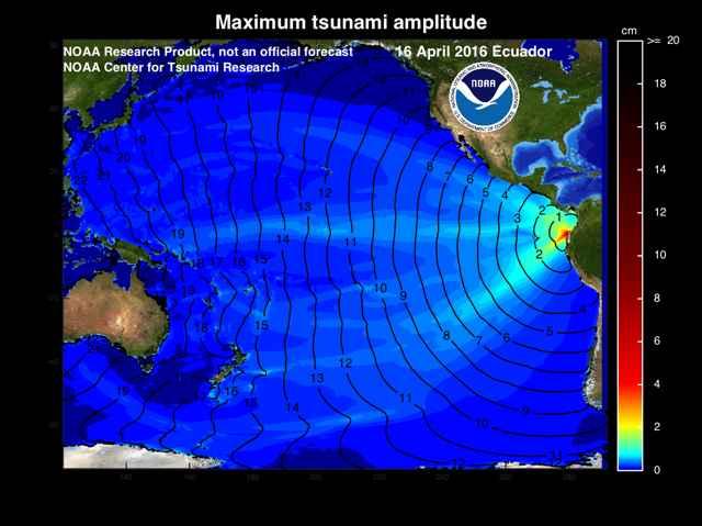 Propagación del tsunami de Ecuador del 16 de abril de 2016