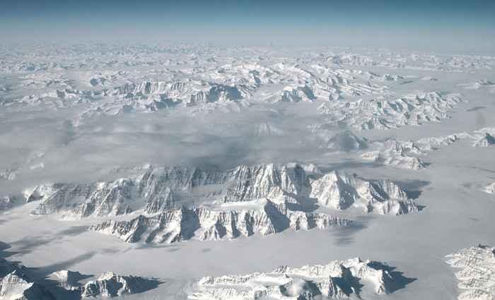 vista aérea de la capa de hielo de Groenlandia