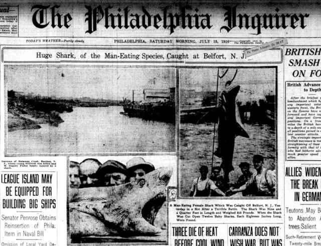 portada del Philadelphia Inquirer 15 julio de 1916