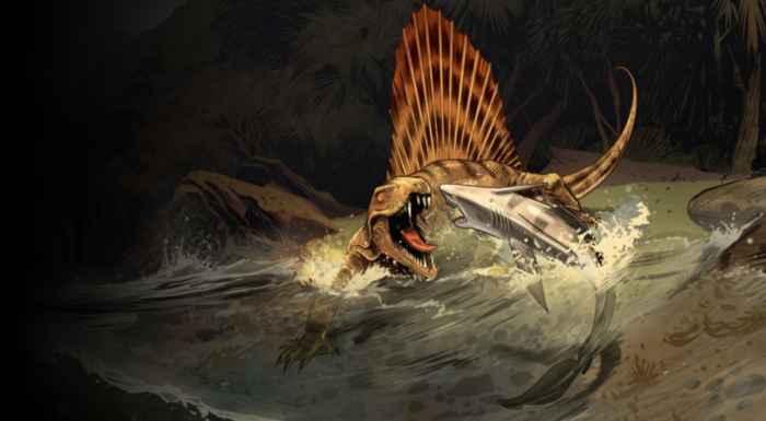 Dimetrodon atacando a un tiburón