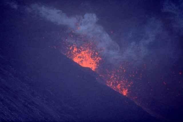 una erupción de volcán Hekla, Islandia