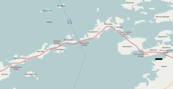 mapa de la carretera del Atlántico, Noruega