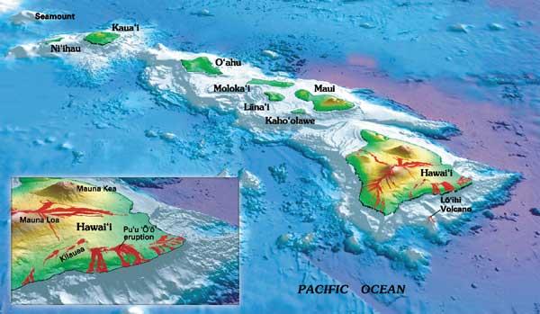 archipielago de Hawaii y erupciones