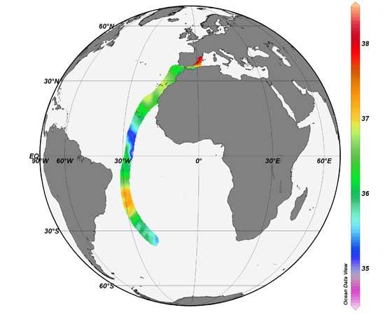 Barcelona World Race, mapa de salinidad en la primera etapa
