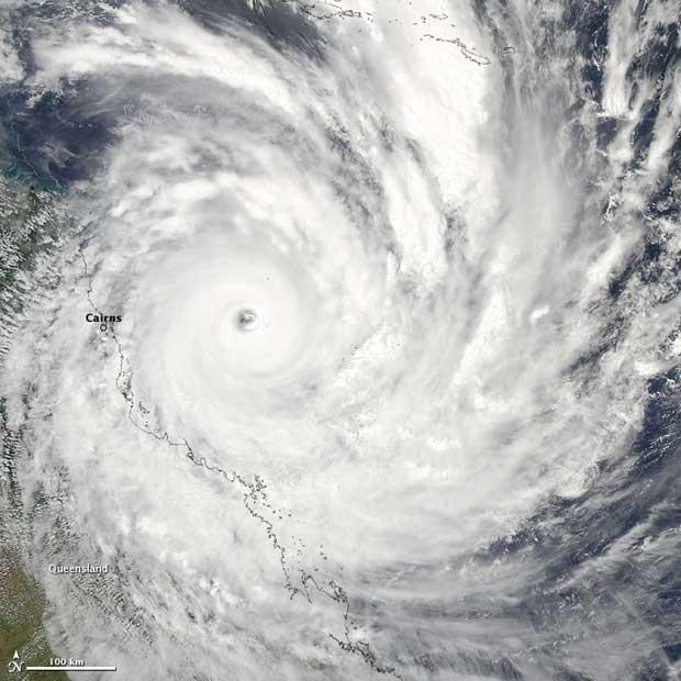 ciclón Yasi, imagen de satélite NASA