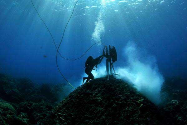 extracción de muestras de corales porites