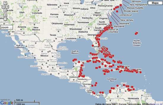 distribución pez león, mapa Google