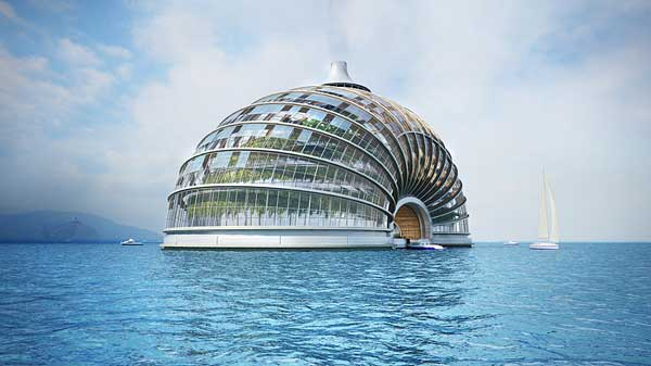 edificio flotante para la subida del nivel del mar