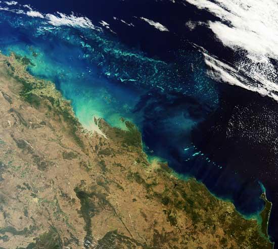 Gran Barrera de Coral australiana, foto satélite ESA