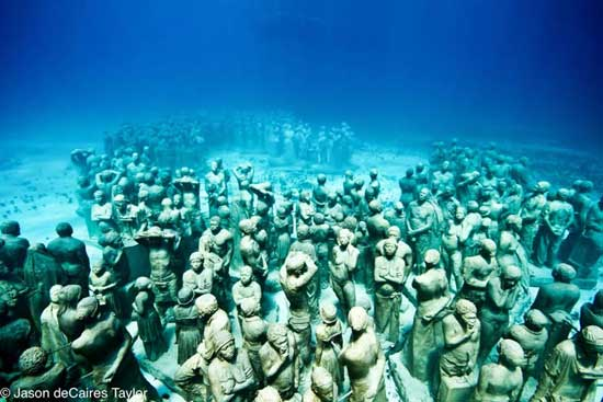 esculturas submarinas humanas,  Cancún, México