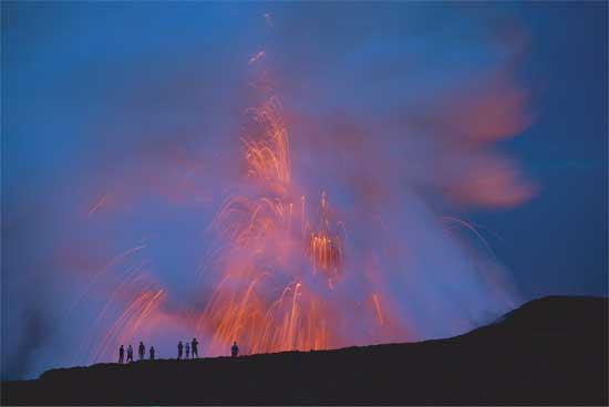 explosión de un volcán en Hawaii en 2008