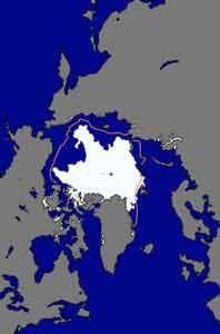 extensión del hielo ártico septiembre 2010