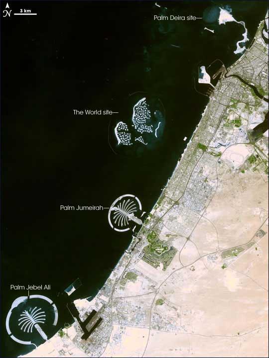 islas artificiales de Dubai desde el espacio