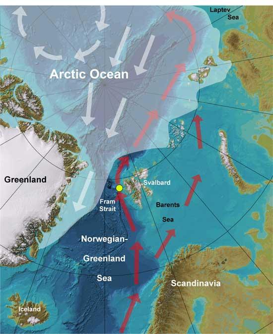 mapa del mar de Groenlandia y el Océano ártico