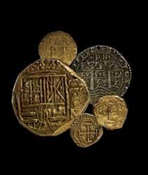 monedas  e oro españolas de siglo XVIII