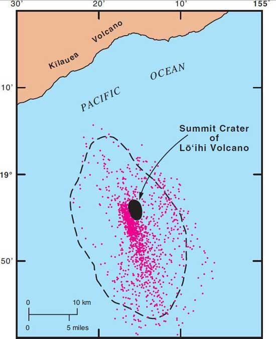 plano actividad sísmica y crater del volcán Loihi