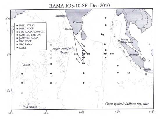 zonas de trabajo del buque oceanográfico Sagar Sampada
