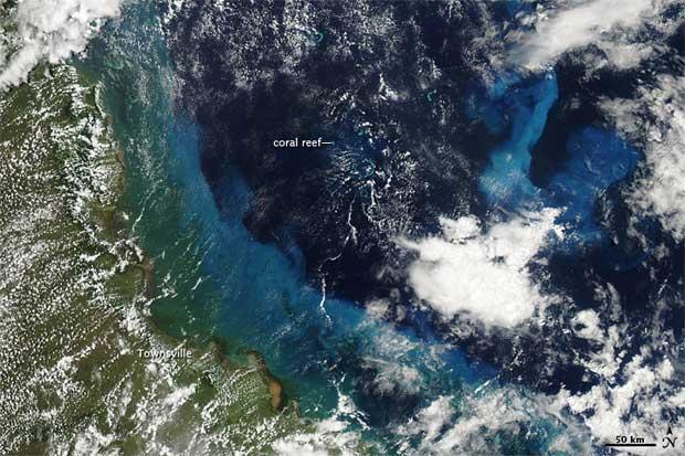 sedimentos del ciclón Yasi en la Gran Barrera de Coral