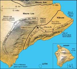 sudeste isla de Hawaii y volcán submarino Loihi
