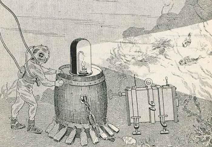 flash submarino de Louis Marie Auguste Boutan