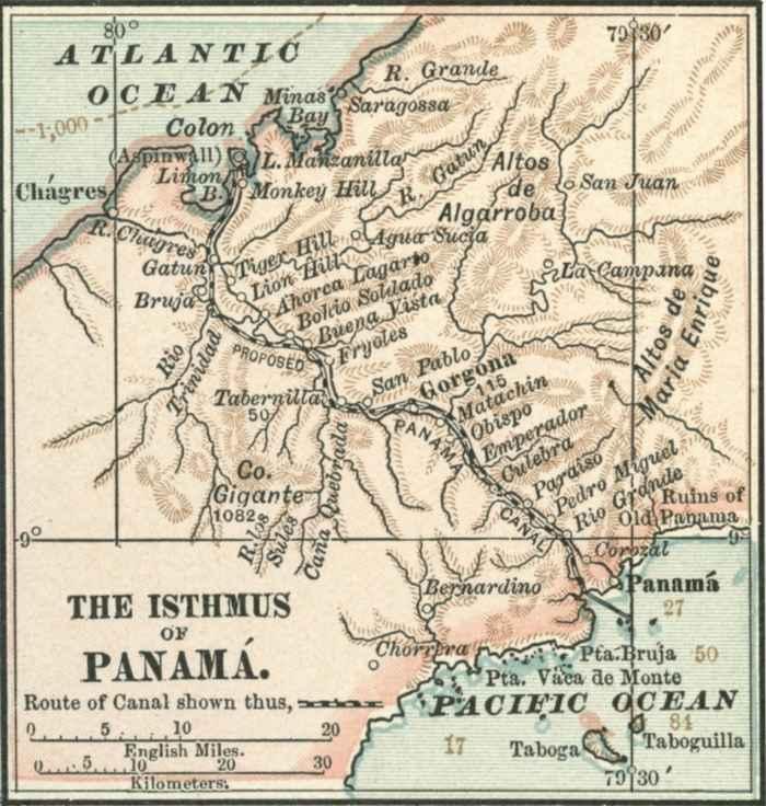 mapa del Istmo de Panamá