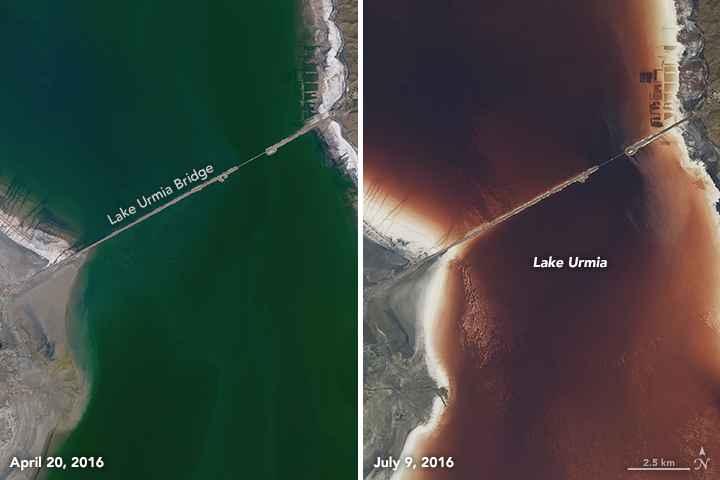 lago Urmia detalle de la calzada de carretera
