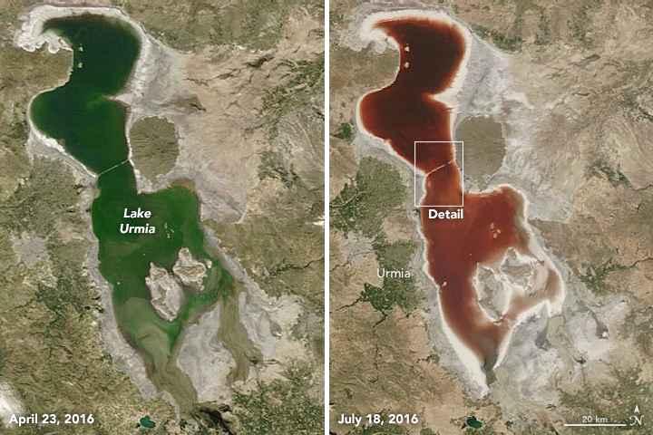 lago Urmia verde y rojo