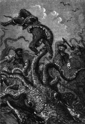 lucha de marineros con un Kraken