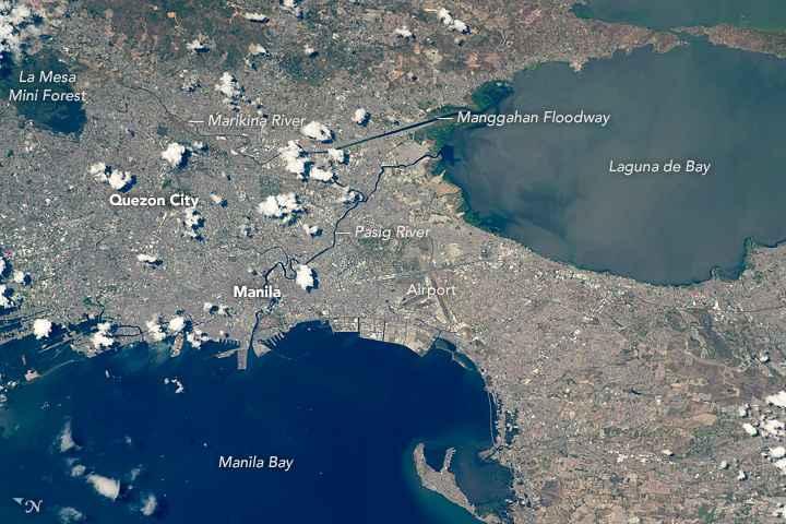 Manila, Filipinas, desde la Estación Espacial