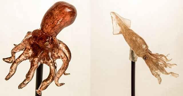 amezaiku, pulpo y calamar