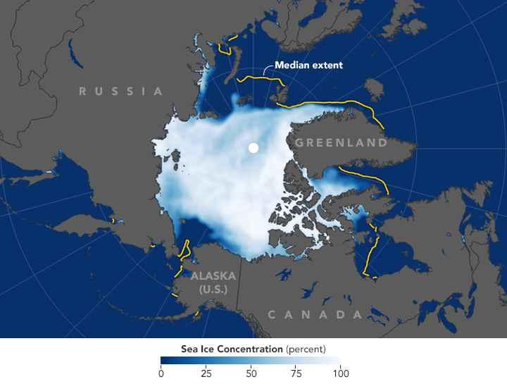 concentración de hielo marino del Ártico noviembre 2016
