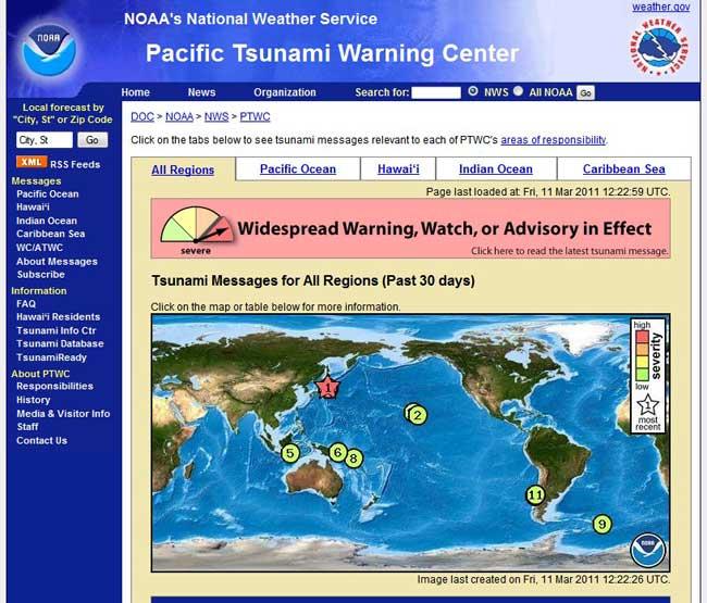 alerta tsunami en japón marzo 2011, NOAA
