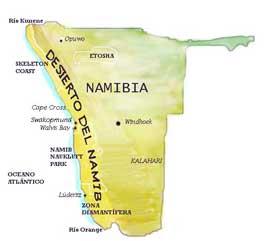 mapa del desierto de Namib