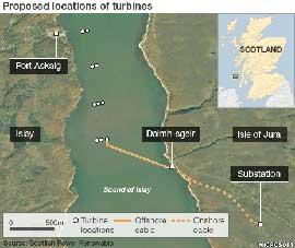 plantas de energía del mar en Escocia, mapa