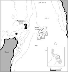 mapa de Monad Shoal, Isla de Malapascua, Filipinas