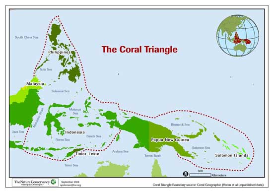mapa del Triángulo de coral