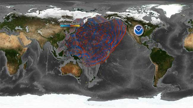 propagación global de la ola del tsunami de Japón, Marzo 2011