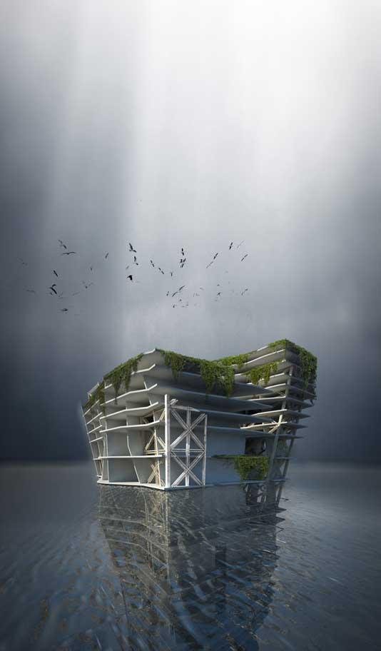 diseño de rascacielos submarino que recicla el plástico