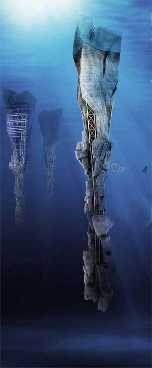 diseño de rascacielos submarinos que reciclan plástico, sumergidos