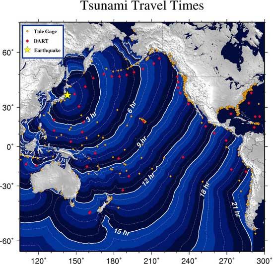 tiempos llegada tsunami
