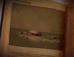 recreación del tsunami en la Atlántida