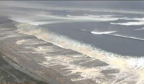 tsunami Japón, marzo 2010, las olas avanzan hacia la costa