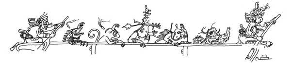 canoa Maya dibujo indígena