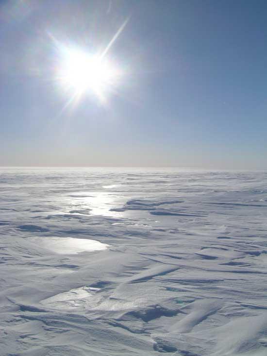 capa de hielo de Groenlandia en invierno
